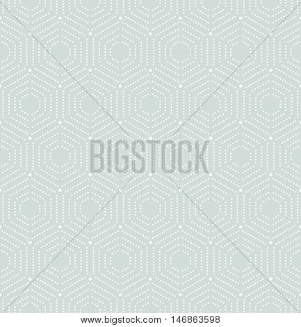 Geometric repeating ornament with hexagonal dotted elements. Seamless abstract modern pattern. Light blue and white pattern