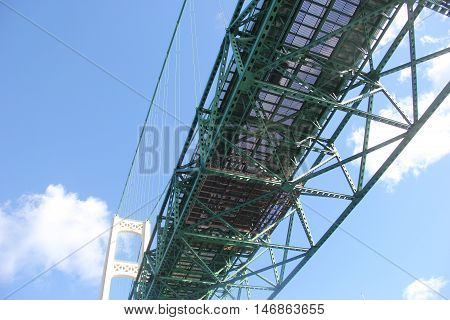 Bottom view of the Mackinac Bridge a suspension bridge spanning the Straits of Mackinac to connect the Upper and Lower peninsula