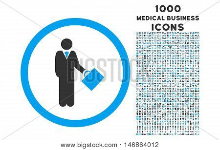 Businessman rounded glyph bicolor icon with 1000 medical business icons. Set style is flat pictograms, blue and gray colors, white background.