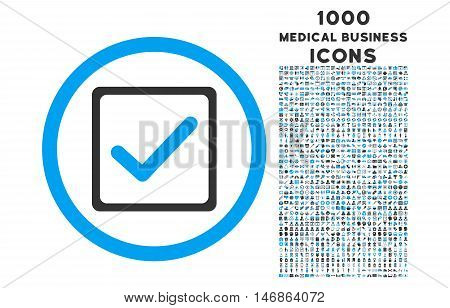Checkbox rounded glyph bicolor icon with 1000 medical business icons. Set style is flat pictograms, blue and gray colors, white background.