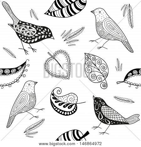 Vector seamles patern doodle bird and leafs on black and white.