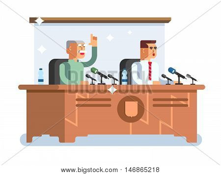 Conference design concept. Meeting presentation, seminar room, speech discussion, vector illustration