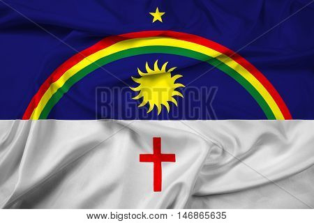 Waving Flag of Pernambuco State Brazil, with beautiful satin background