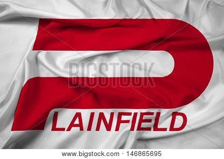 Waving Flag of Plainfield Indiana USA, with beautiful satin background