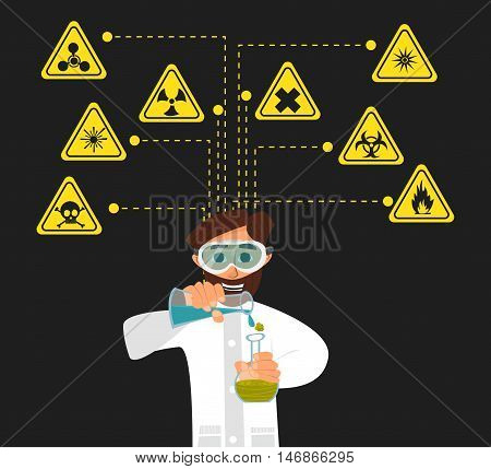 Researcher of the research laboratory with the reagents in his hands. Vector illustration