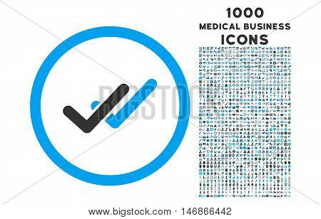 Validation rounded glyph bicolor icon with 1000 medical business icons. Set style is flat pictograms, blue and gray colors, white background.