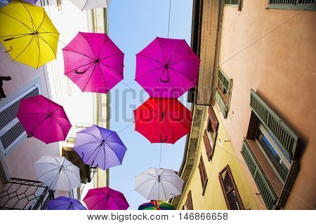 Flying Colourful Umbrellas
