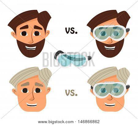 Researcher research laboratory safety glasses or goggles. Vector illustration