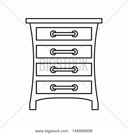 Chest of drawers icon in outline style on a white background vector illustration