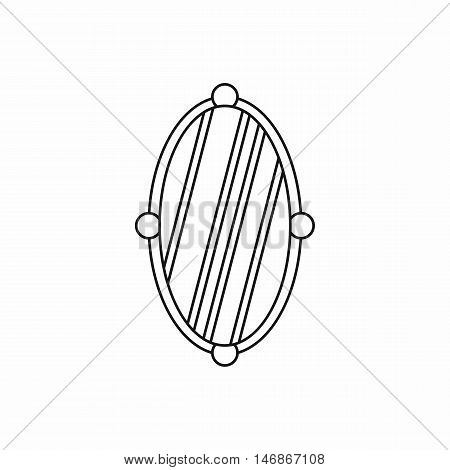 Oval mirror icon in outline style on a white background vector illustration