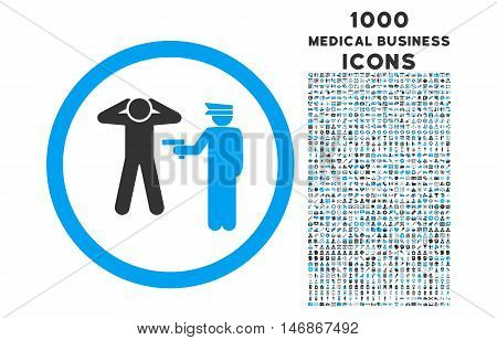 Arrest rounded vector bicolor icon with 1000 medical business icons. Set style is flat pictograms, blue and gray colors, white background.