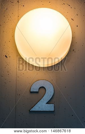 Two 2 Apartment Floor Number Map Wall Metal Light Decoration