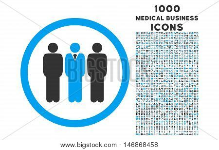 Clerk Staff rounded vector bicolor icon with 1000 medical business icons. Set style is flat pictograms, blue and gray colors, white background.