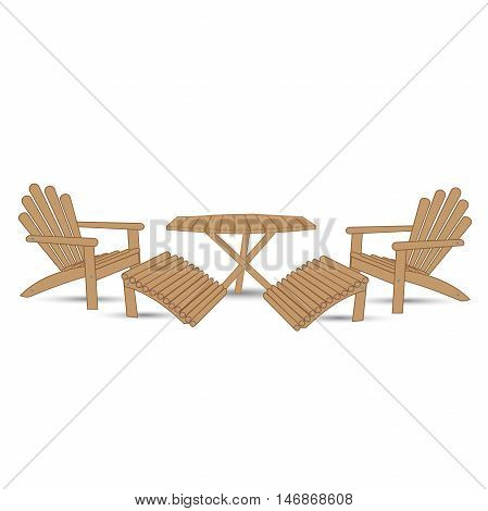 garden table and two garden chairs with footrests on a white background