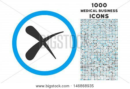 Erase rounded vector bicolor icon with 1000 medical business icons. Set style is flat pictograms, blue and gray colors, white background.
