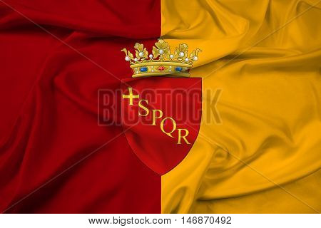Waving Flag Of Rome With Coat Of Arms, Italy