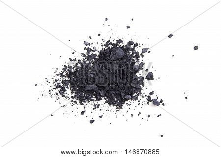 Satin black eyeshadows powder, makeaup and cosmetic background isolated, macro shot