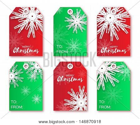 Festive collection of red green Christmas labels. Ready-to-use gift tags. Xmas and New Year Set of 6 printable origami holiday label. Vector seasonal badge design illustration