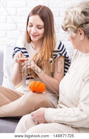 First Steps In Knitting With The Best Teacher