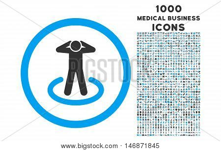 Prisoner rounded vector bicolor icon with 1000 medical business icons. Set style is flat pictograms, blue and gray colors, white background.