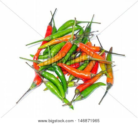 Green Chilis with Red Chilis on white background.