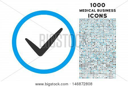 Valid rounded vector bicolor icon with 1000 medical business icons. Set style is flat pictograms, blue and gray colors, white background.