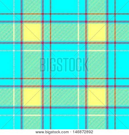 vibrant blue yellow and red check diamond tartan plaid fabric seamless pattern texture background