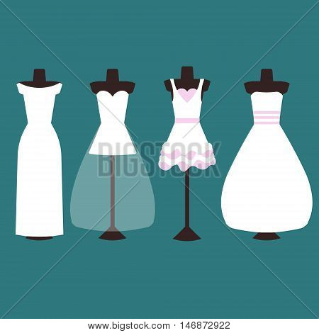 Vector set of wedding dresses in white and pink. four types of dresses long and short