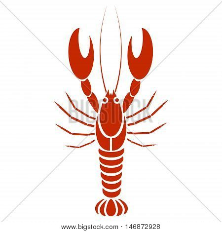 Vector isolated crayfish or lobster. Simple flat design