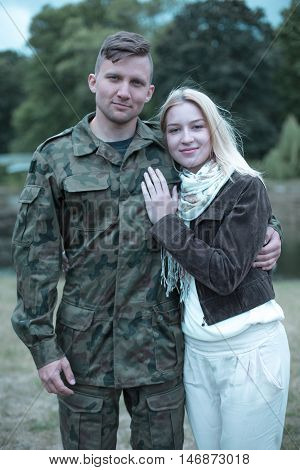 Supporting Her Husband Soldier In His Duties