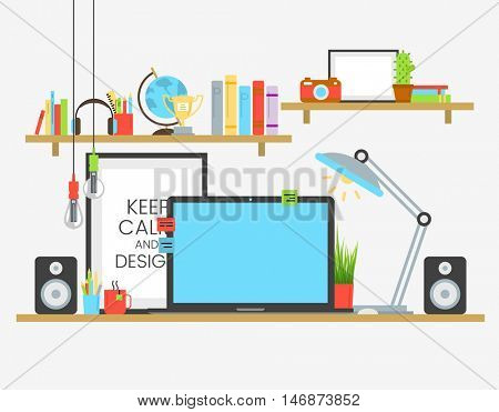 Working place of creative team in flat design over wooden table. Designer work place