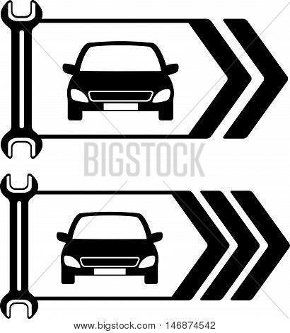 Set Of Road Sign Of Car Repair