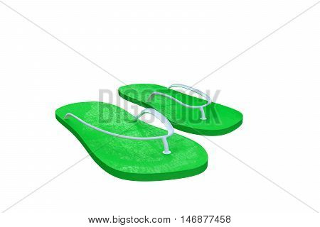 3d illustration of green flip flop isolated on white background