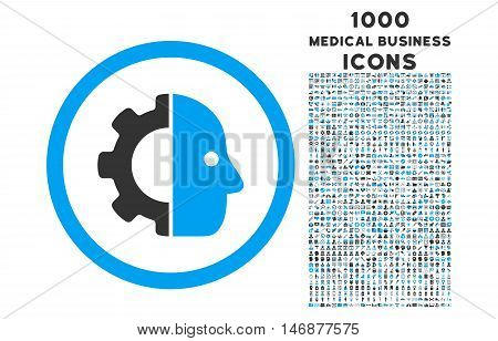 Cyborg rounded vector bicolor icon with 1000 medical business icons. Set style is flat pictograms, blue and gray colors, white background.