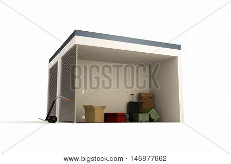 3d illustration of a self storage section isolated on white background