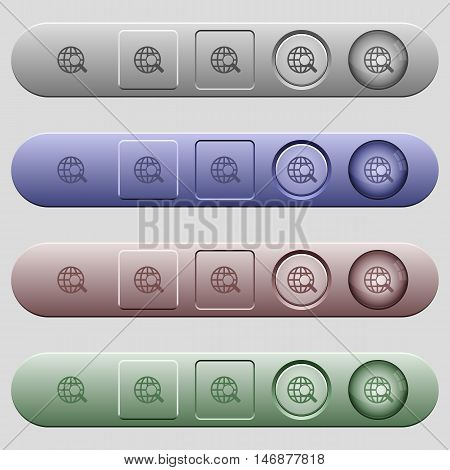 Web search icons on rounded horizontal menu bars in different colors and button styles