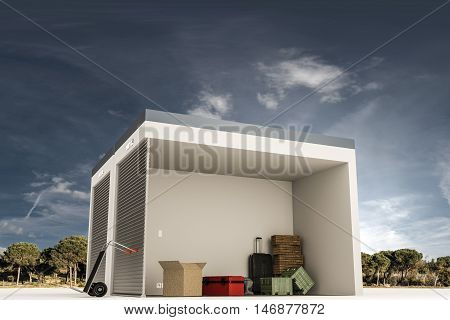 3d illustration of a self storage section