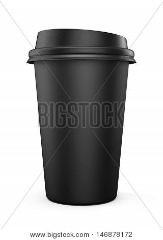 Disposable black plastic Cup with a lid. Cup for coffee. Isolated on white background. 3d rendering.