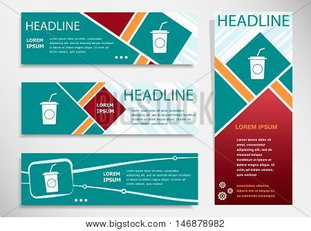 Soft Drink Icon On Horizontal And Vertical Banner