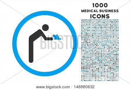 Servant rounded vector bicolor icon with 1000 medical business icons. Set style is flat pictograms, blue and gray colors, white background.