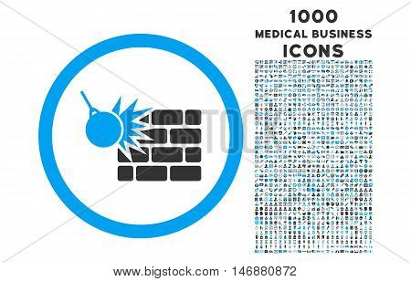 Wall Destruction rounded vector bicolor icon with 1000 medical business icons. Set style is flat pictograms, blue and gray colors, white background.