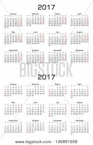 Simple Calendar 2017. Two versions week starts from sunday and week starts from monday. Vector Illustration.
