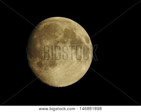 A close up of an almost full moon on a crisp clear night