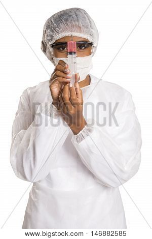 Female Medical Professional Scientist Researcher Holding A Syringe Injection Jab Vaccination Cure Di