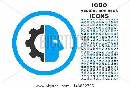 Cyborg rounded glyph bicolor icon with 1000 medical business icons. Set style is flat pictograms, blue and gray colors, white background.