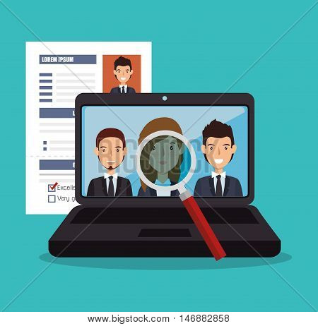 virtual human resources recruit design isolated vector illustration eps 10