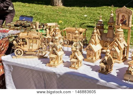 Exhibition And Sale Of Wood Products Handcrafted In The Streets During The Celebration Of City Day