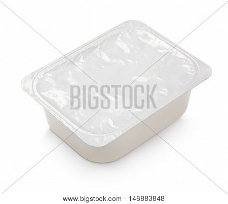 Blank Of Rectangular Aluminum Foil Cover Food Tray Isolated On White