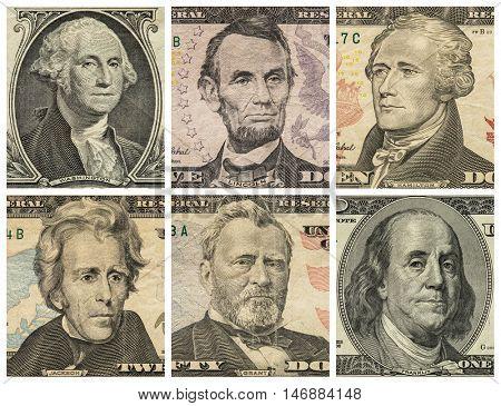 Portraits of six presidents with U.S. dollar bills