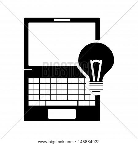 flat design laptop frontview and lightbulb icon vector illustration